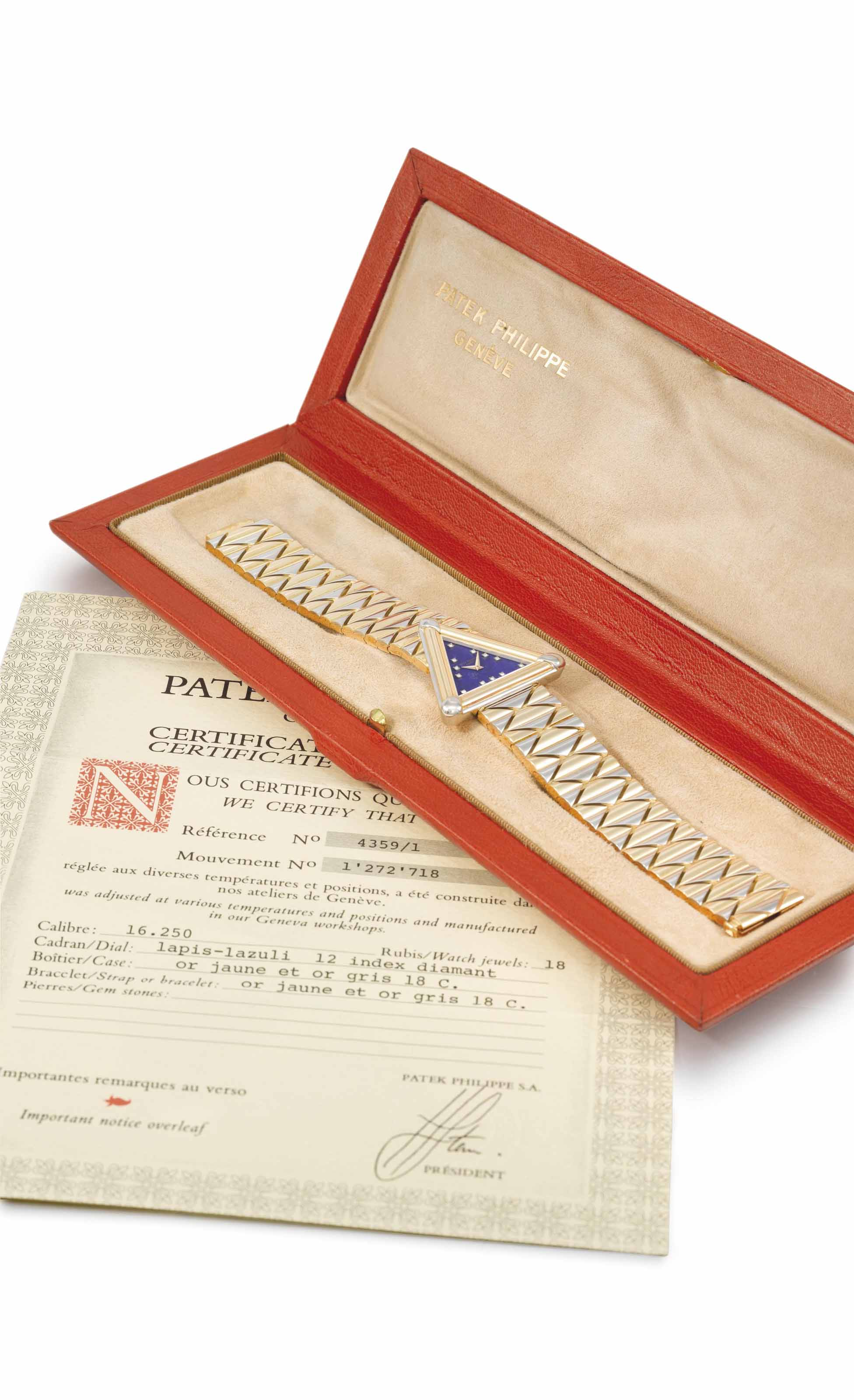 Patek Philippe. A very fine, unusual and possibly unique 18K white and yellow gold triangular bracelet watch with diamond-set lapis lazuli dial