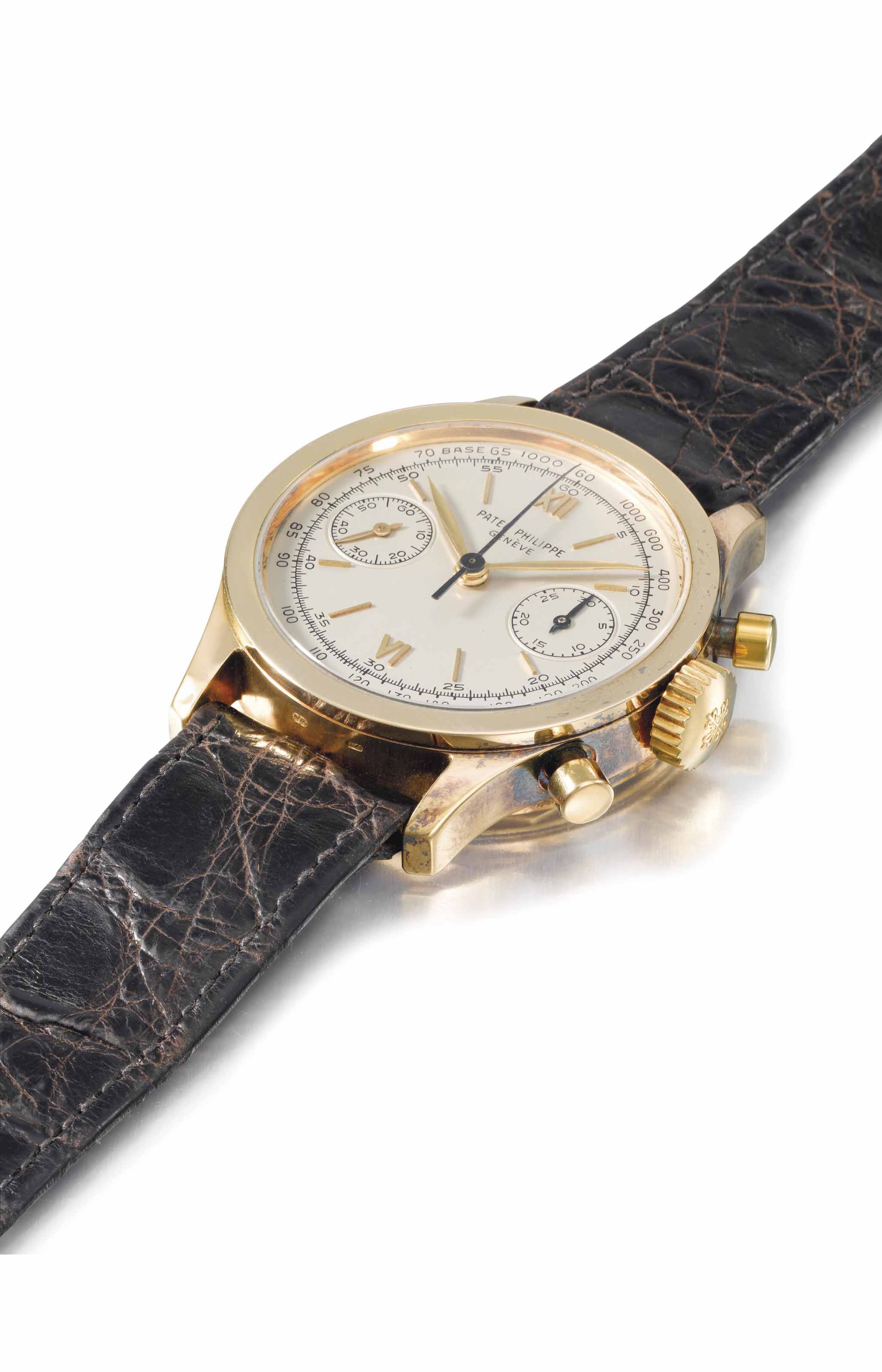 Patek Philippe. An extremely fine, rare and attractive 18K gold chronograph wristwatch