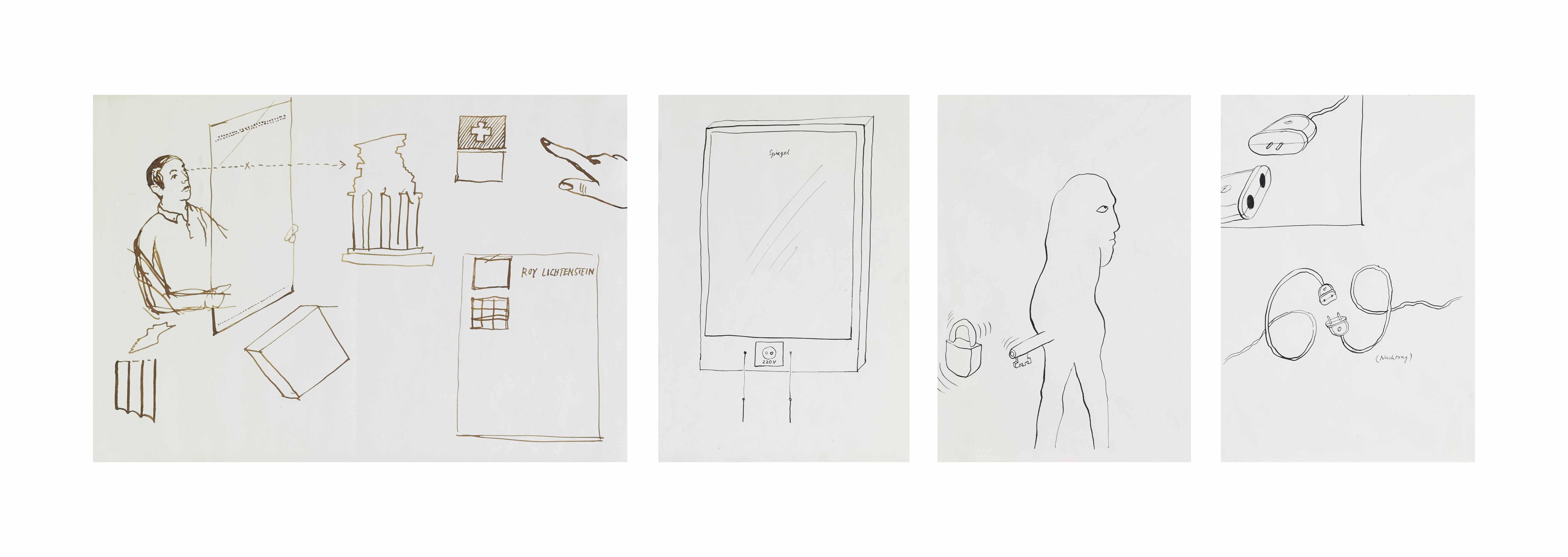 ohne Titel, Sammelnummer von 4 Zeichnungen