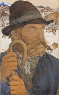 Saviésan à la pipe, 1910