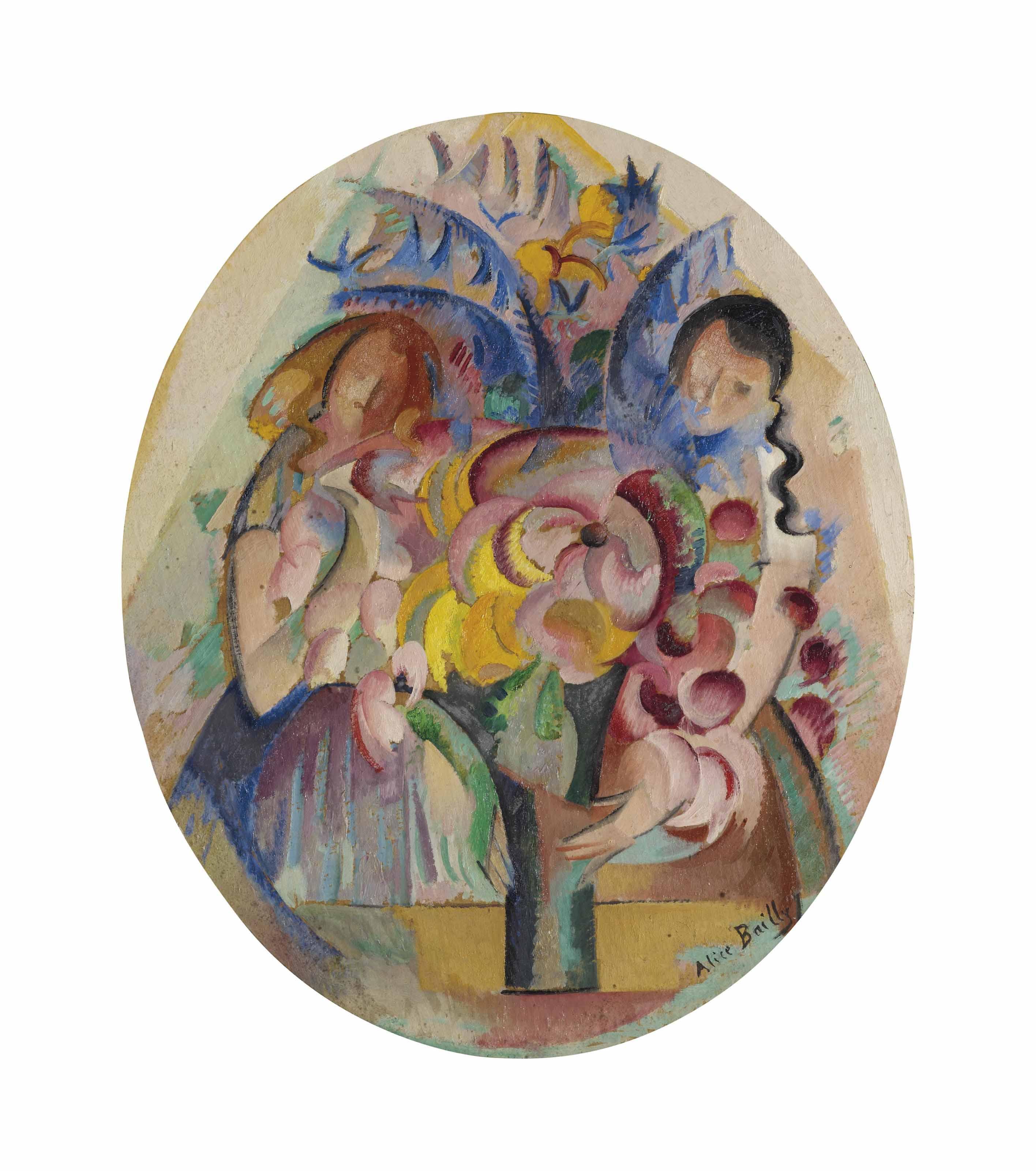 Jeune fille au bouquet, um 1918