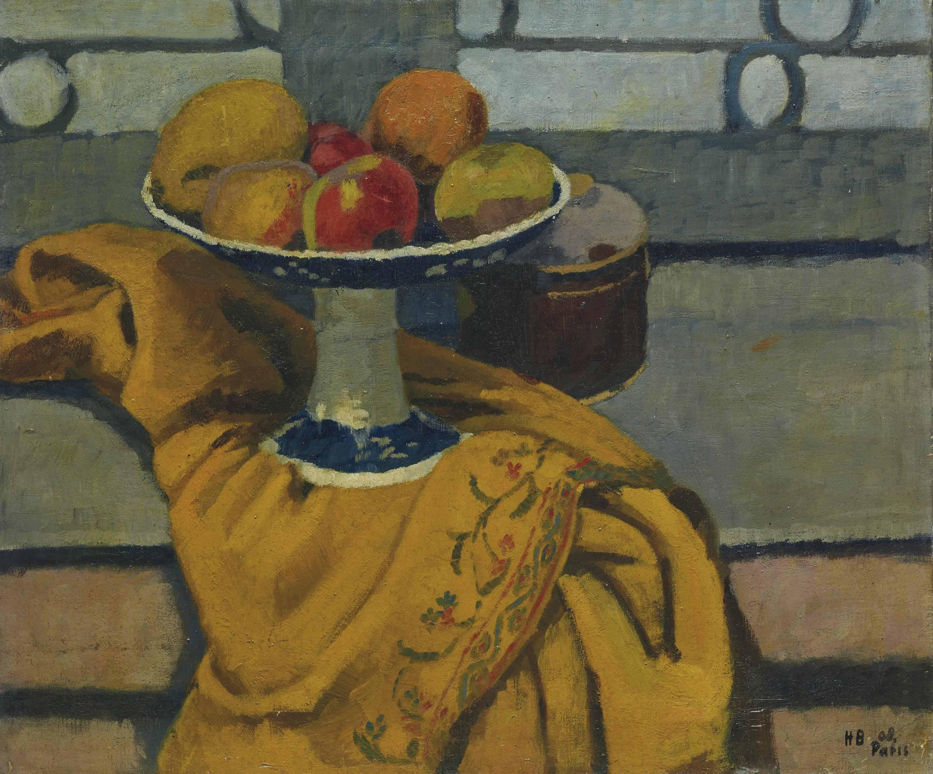 Früchteschale auf gelbem Tuch, 1908
