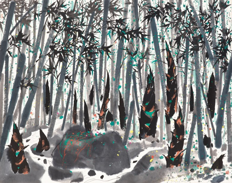 Wu Guanzhong (1919-2010), Bamboos. 138.5 x 175  cm (54½ x 68⅞  in). Sold for HK$27,000,000 on 26-27 May 2014 at Christie's in Hong Kong