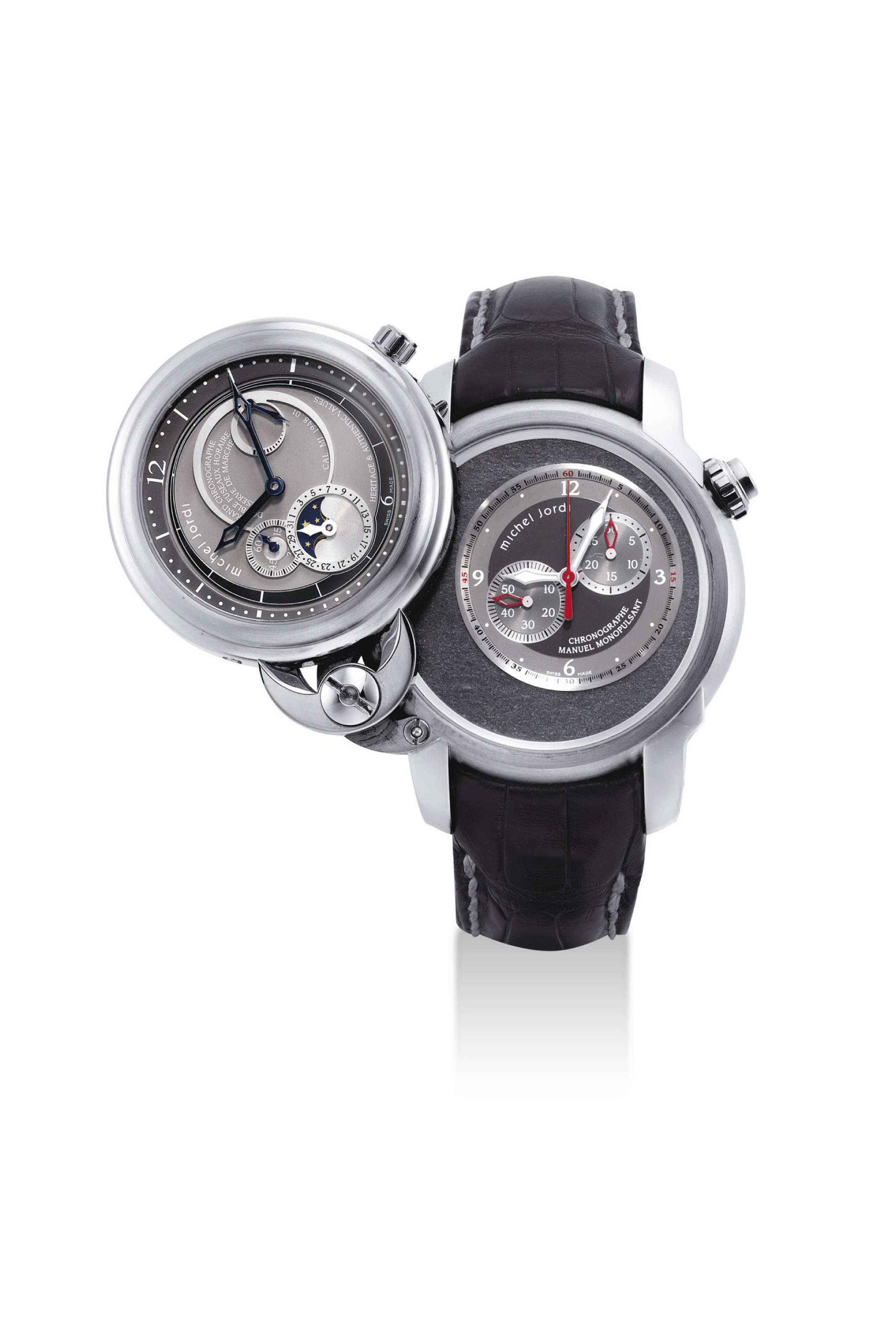 MICHEL JORDI. A RARE AND UNUSUAL 18K WHITE GOLD LIMITED EDITION TWIN CASE TWO TIME ZONES SINGLE BUTTON CHRONOGRAPH WRISTWATCH WITH TWO INDEPENDENT MOVEMENTS, POWER RESERVE, DATE, MOON PHASES AND SLATE ROCK DIAL