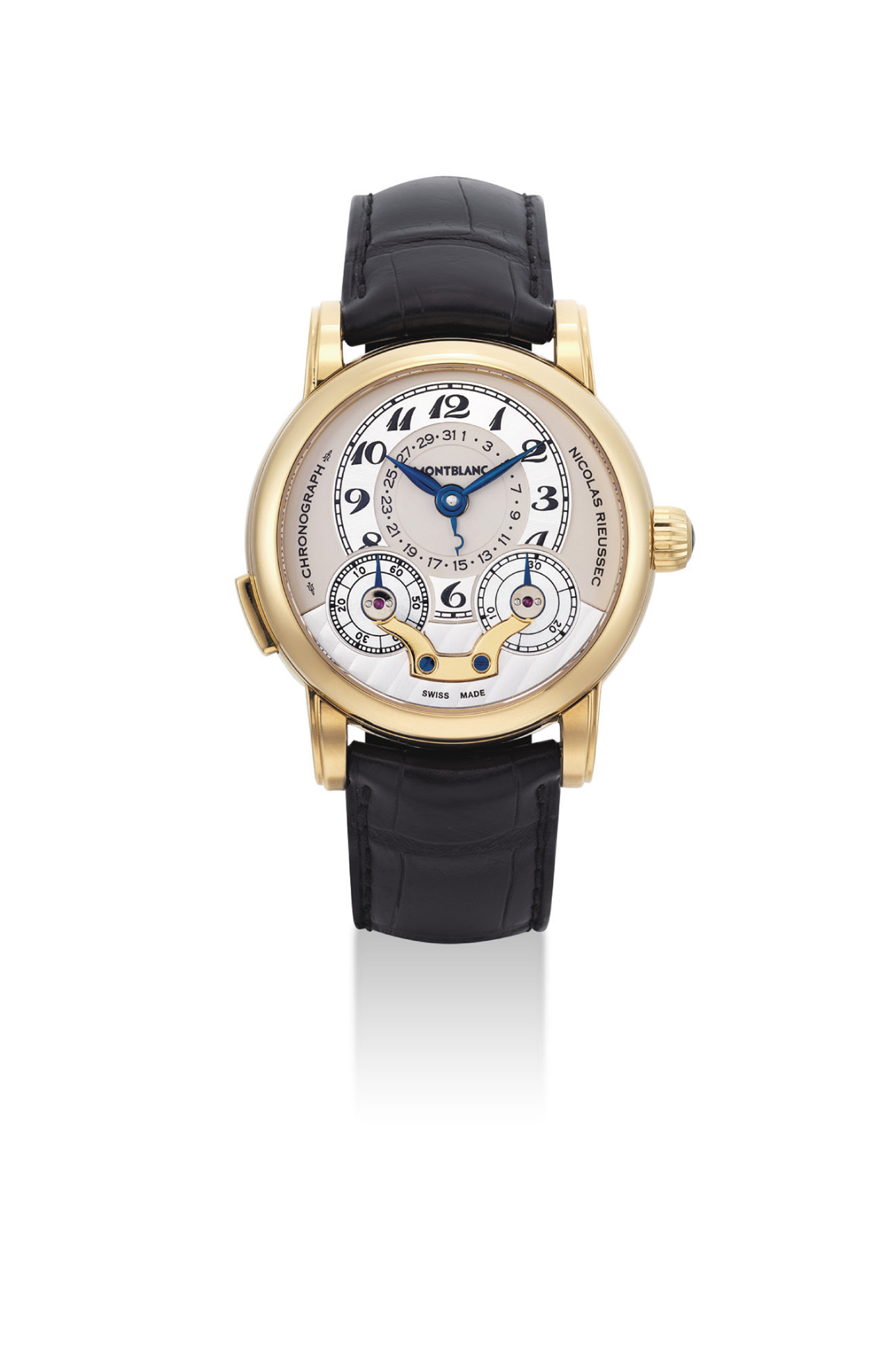 MONTBLANC. A FINE 18K GOLD LIMITED EDITION SINGLE BUTTON CHRONOGRAPH WRISTWATCH WITH DATE AND POWER RESERVE