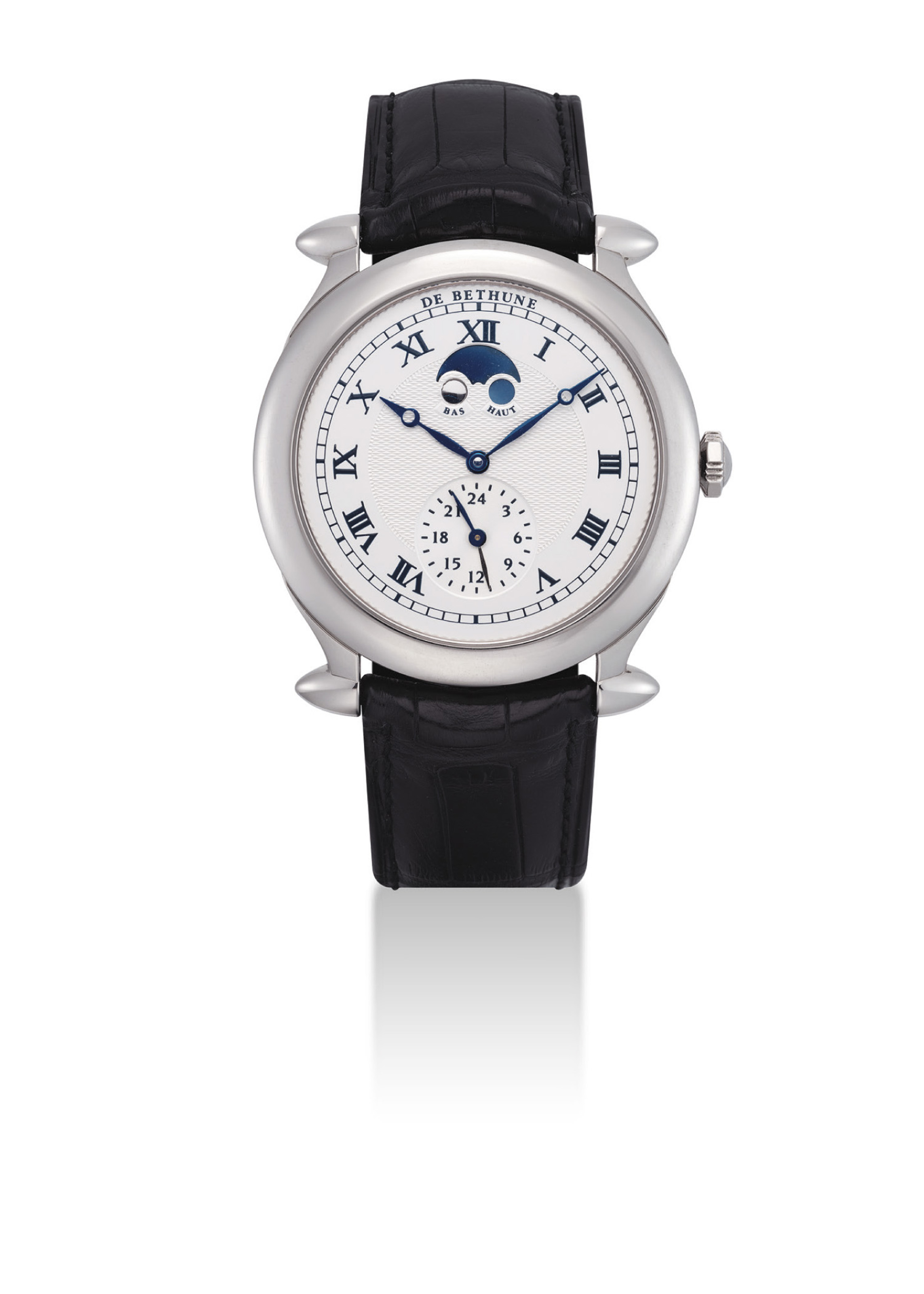 DE BETHUNE. A FINE 18K WHITE GOLD DUAL TIME WRISTWATCH WITH MOON PHASES