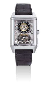 JAEGER-LECOULTRE. A VERY FINE, IMPORTANT AND EXTREMELY RARE 18K WHITE GOLD SPECIAL EDITION RECTANGULAR REVERSIBLE SKELETONISED MULTI-AXIS SPHERICAL TOURBILLON WRISTWATCH WITH POWER RESERVE AND 24 HOUR INDICATION, MADE FOR JAEGER-LECOULTRE BOUTIQUE IN GENEVA IN 2009