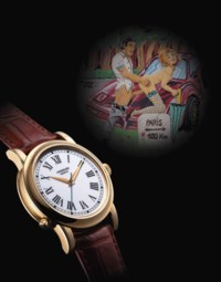 ANDERSEN. A RARE 18K GOLD WRISTWATCH WITH SWEEP CENTRE SECONDS AND CONCEALED EROTIC AUTOMATON