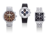 IKEPOD, TAG HEUER AND LOUIS VUITTON. A GROUP LOT OF THREE STAINLESS STEEL CHRONOGRAPH WRISTWATCHES