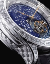 JAEGER-LECOULTRE. AN IMPORTANT AND VERY FINE 18K WHITE GOLD AND DIAMOND-SET MINUTE REPEATING WRISTWATCH WITH FLYING TOURBILLON, SKY CHART, DATE, MONTH AND 24 HOUR INDICATION