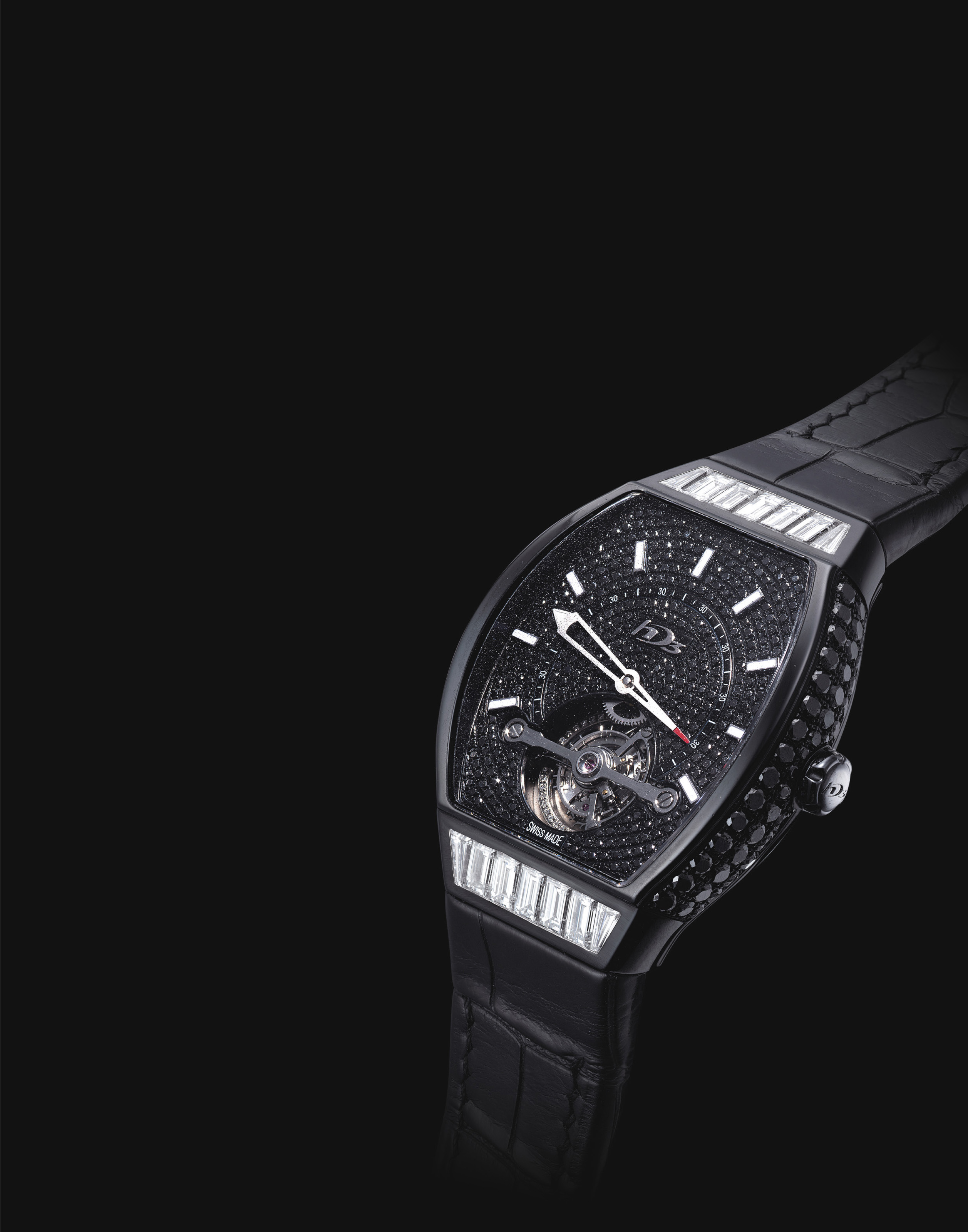 HD3. A UNIQUE BLACK PVD-COATED 18K WHITE GOLD, DIAMOND AND BLACK DIAMOND-SET TONNEAU-SHAPED TOURBILLON WRISTWATCH