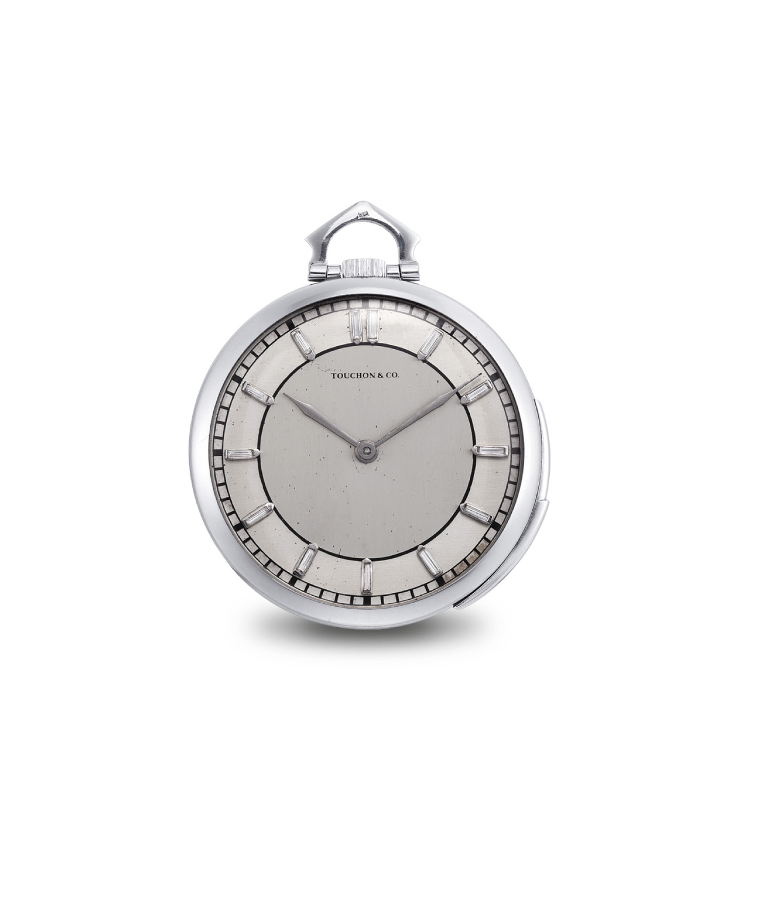 TOUCHON & CO. A FINE PLATINUM AND DIAMOND-SET MINUTE REPEATING OPENFACE KEYLESS LEVER DRESS WATCH WITH TWO-TONE SILVERED DIAL