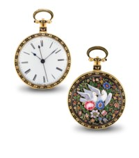 VAUCHER. A FINE AND RARE GOLD AND ENAMEL OPENFACE DUPLEX WATCH WITH CENTRE SECONDS, MADE FOR THE CHINESE MARKET