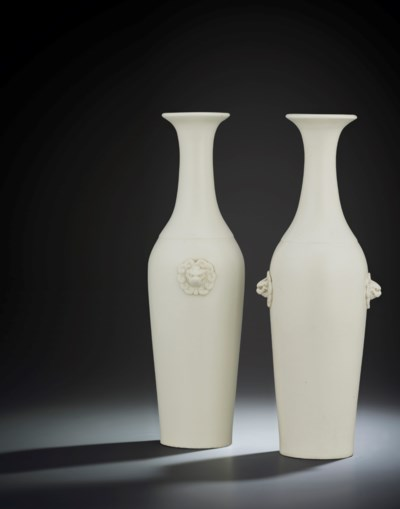 TWO DEHUA BALUSTER VASES