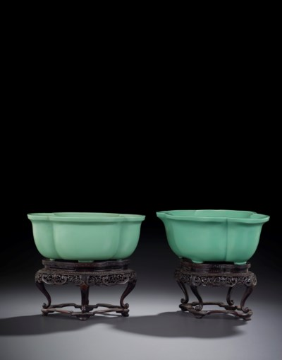 TWO IMPERIAL GREEN GLASS LOBED