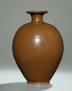 A YAOZHOU PERSIMMON-GLAZED VASE, MEIPING