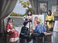 SELF PORTRAIT OF THE ARTIST PAINTING, WITH FOUR WOMEN