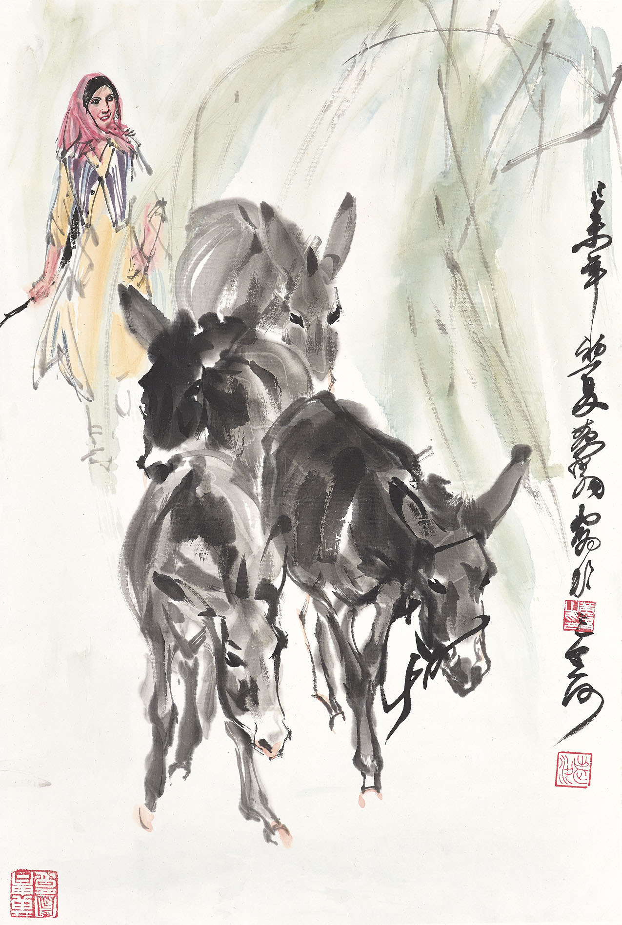 Girl with Donkeys