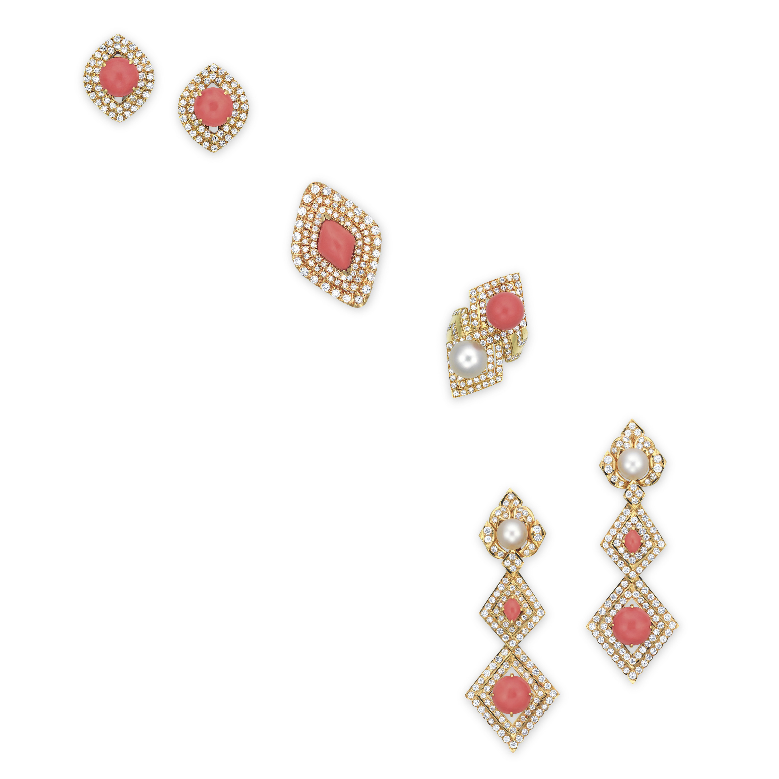 A SET OF CORAL, CULTURED PEARL