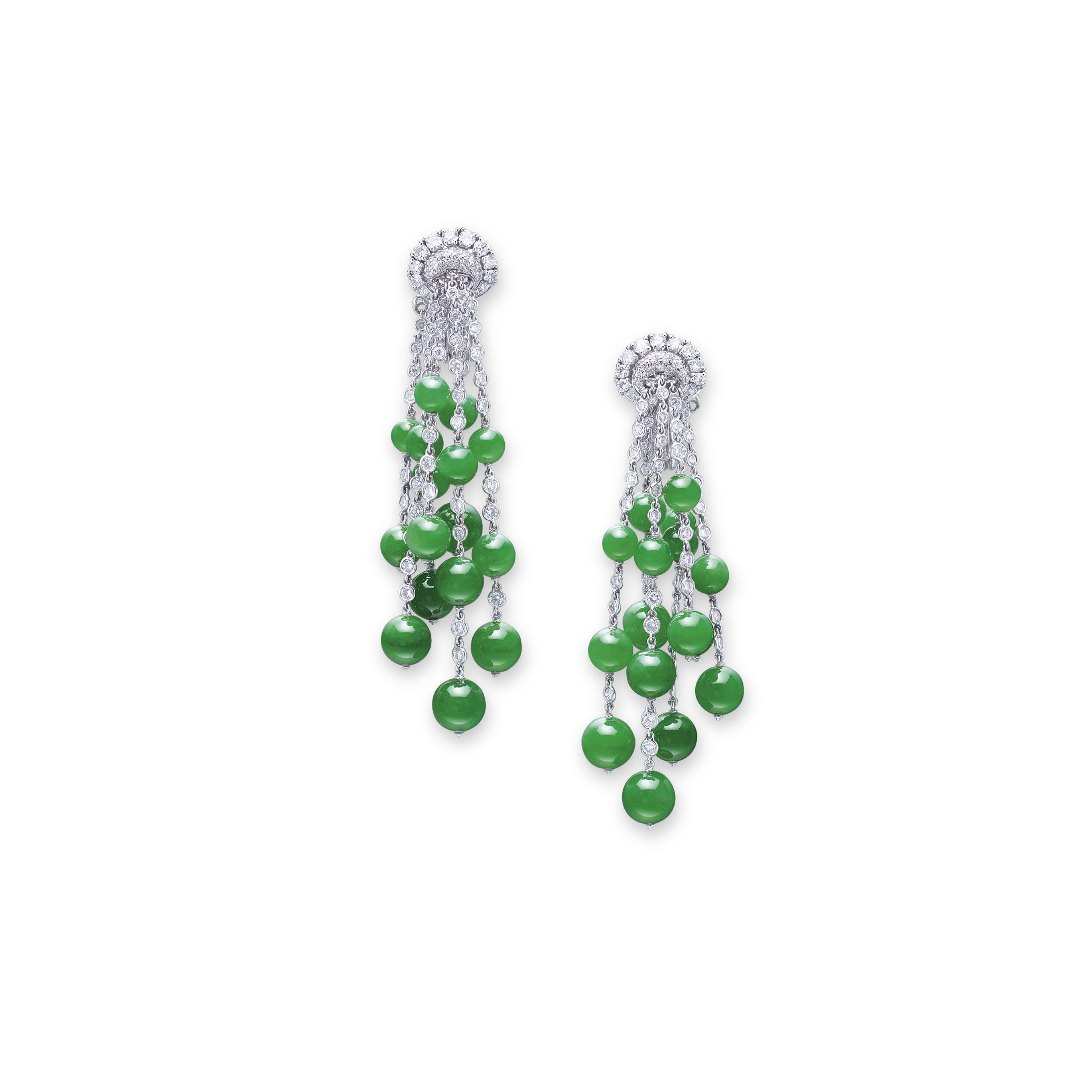 A PAIR OF JADEITE AND DIAMOND EAR PENDANTS, BY MICHELE DELLA VALLE