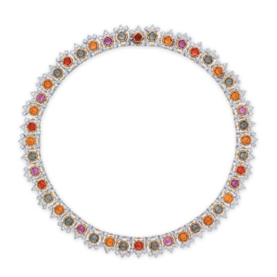 A MULTI-COLOURED SAPPHIRE AND