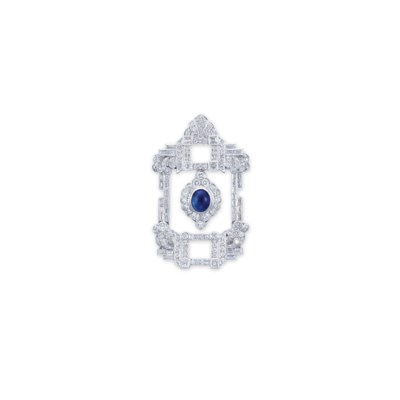 A SAPPHIRE AND DIAMOND BROOCH