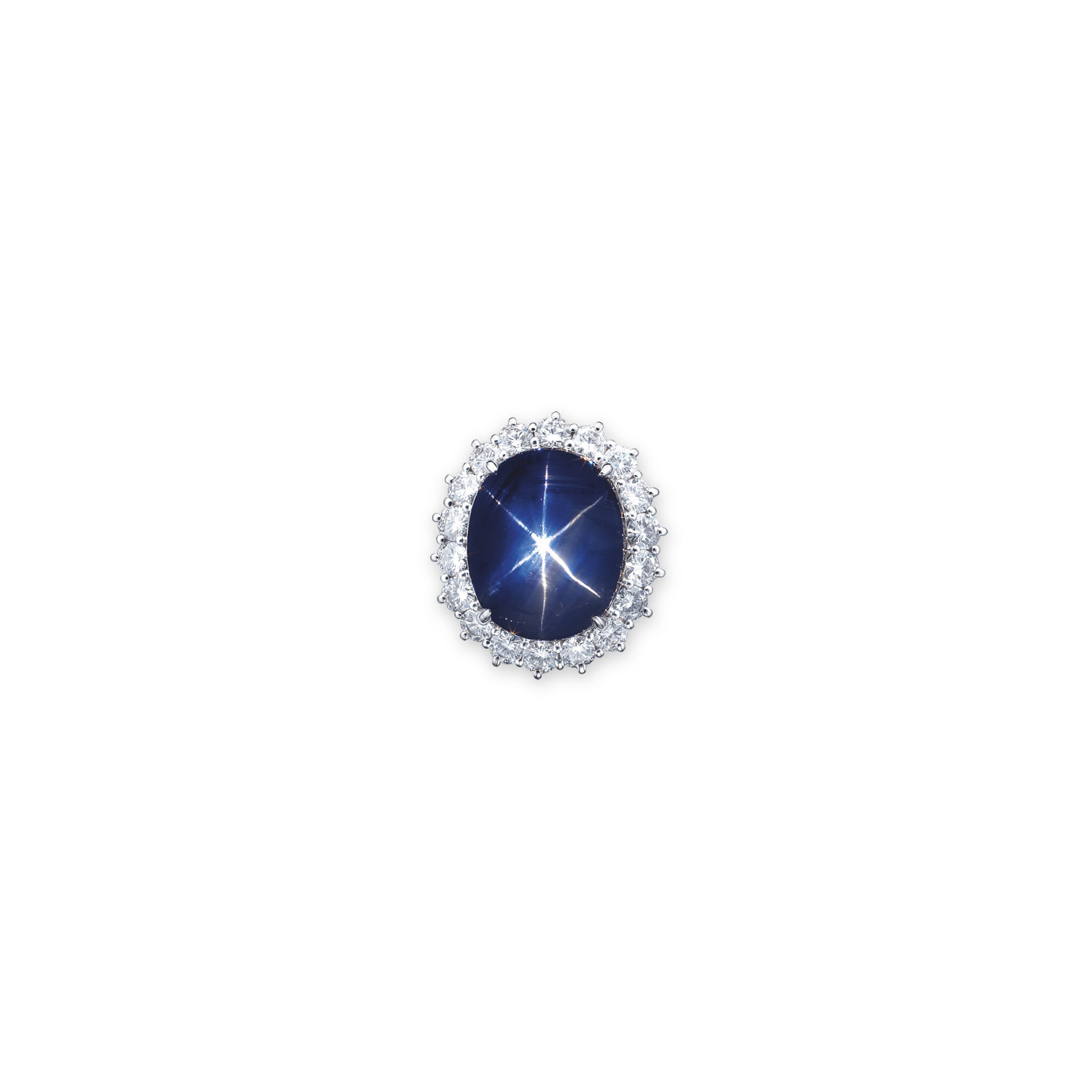 A STAR SAPPHIRE AND DIAMOND RI