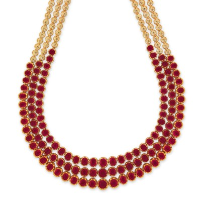 THREE RUBY NECKLACES
