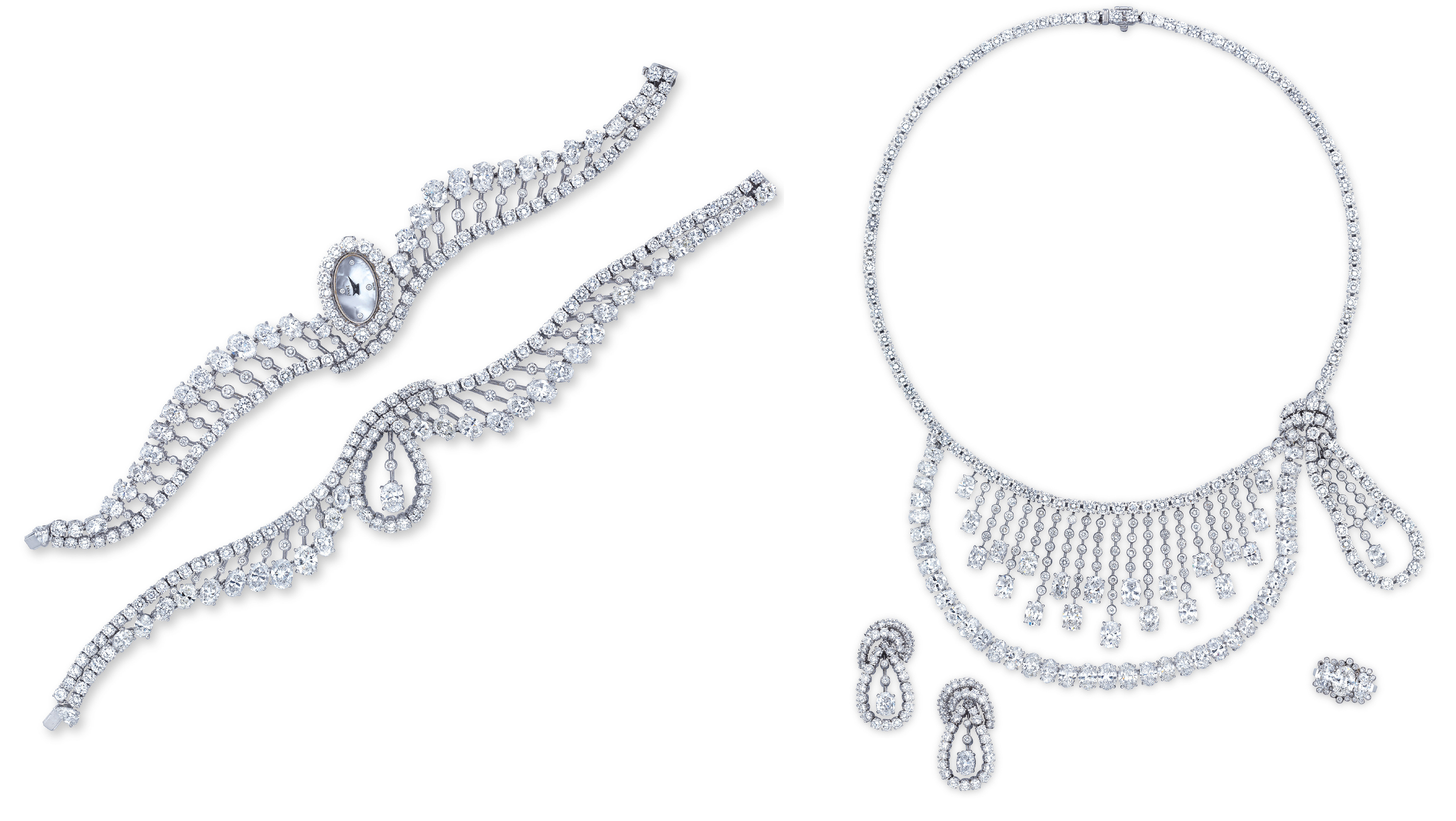 A SUITE OF DIAMOND AND MOTHER-OF-PEARL JEWELLERY