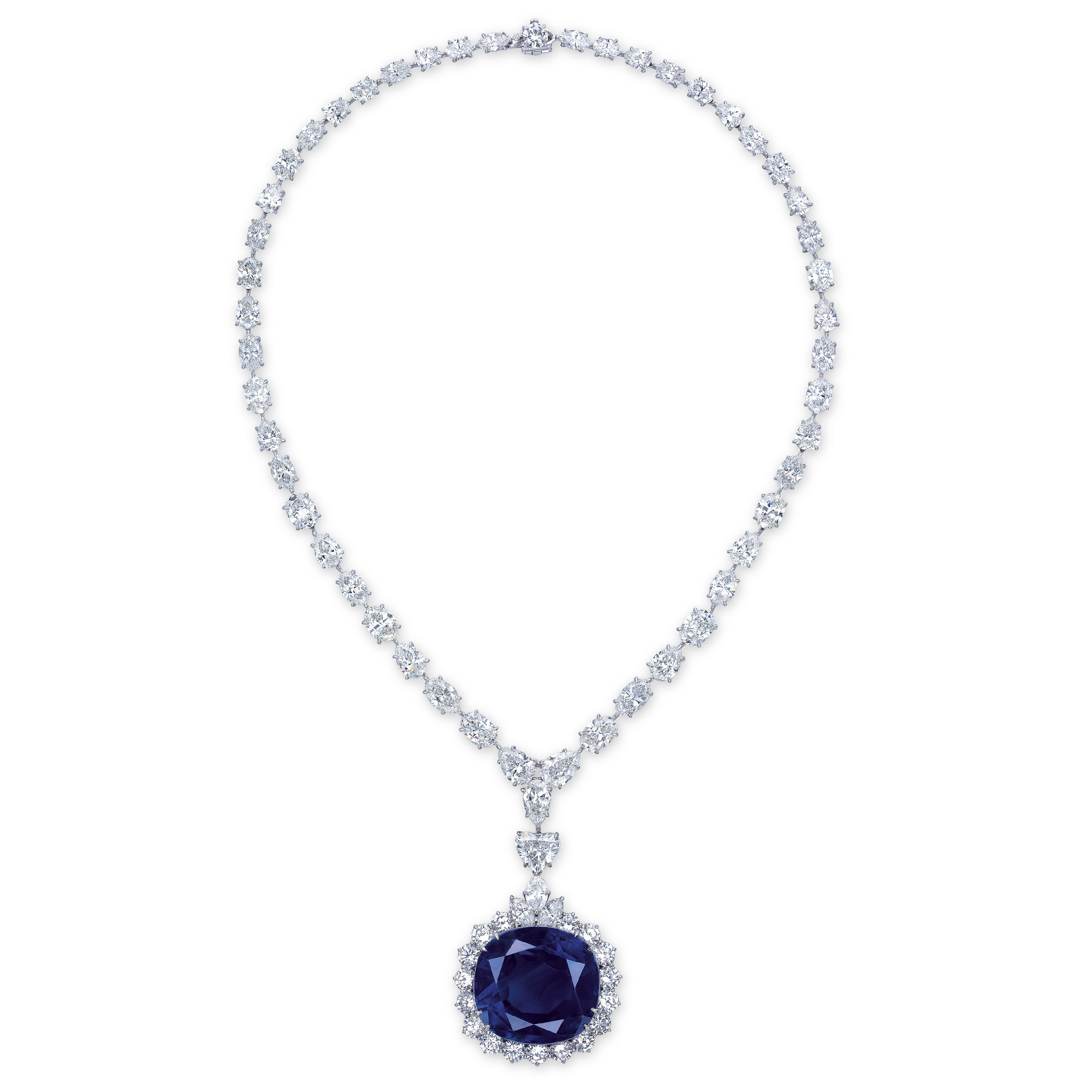 A MAGNIFICENT SAPPHIRE AND DIAMOND PENDANT NECKLACE, BY CHATILA