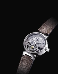 LOUIS VUITTON. A FINE AND RARE PLATINUM AND DIAMOND-SET SKELETONISED TOURBILLON WRISTWATCH