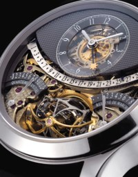JAEGER-LECOULTRE. A FINE AND VERY RARE 18K WHITE GOLD LIMITED EDITION SEMI-SKELETONISED TOURBILLON WRISTWATCH WITH RETROGRADE DATE, POWER RESERVE AND EQUATION OF TIME