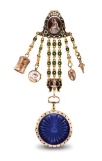 BARWISE. A GOLD AND ENAMEL OPENFACE KEYWOUND VERGE WATCH WITH ASSOCIATED GILT METAL AND ENAMEL EN GRISAILLE CHATELAINE
