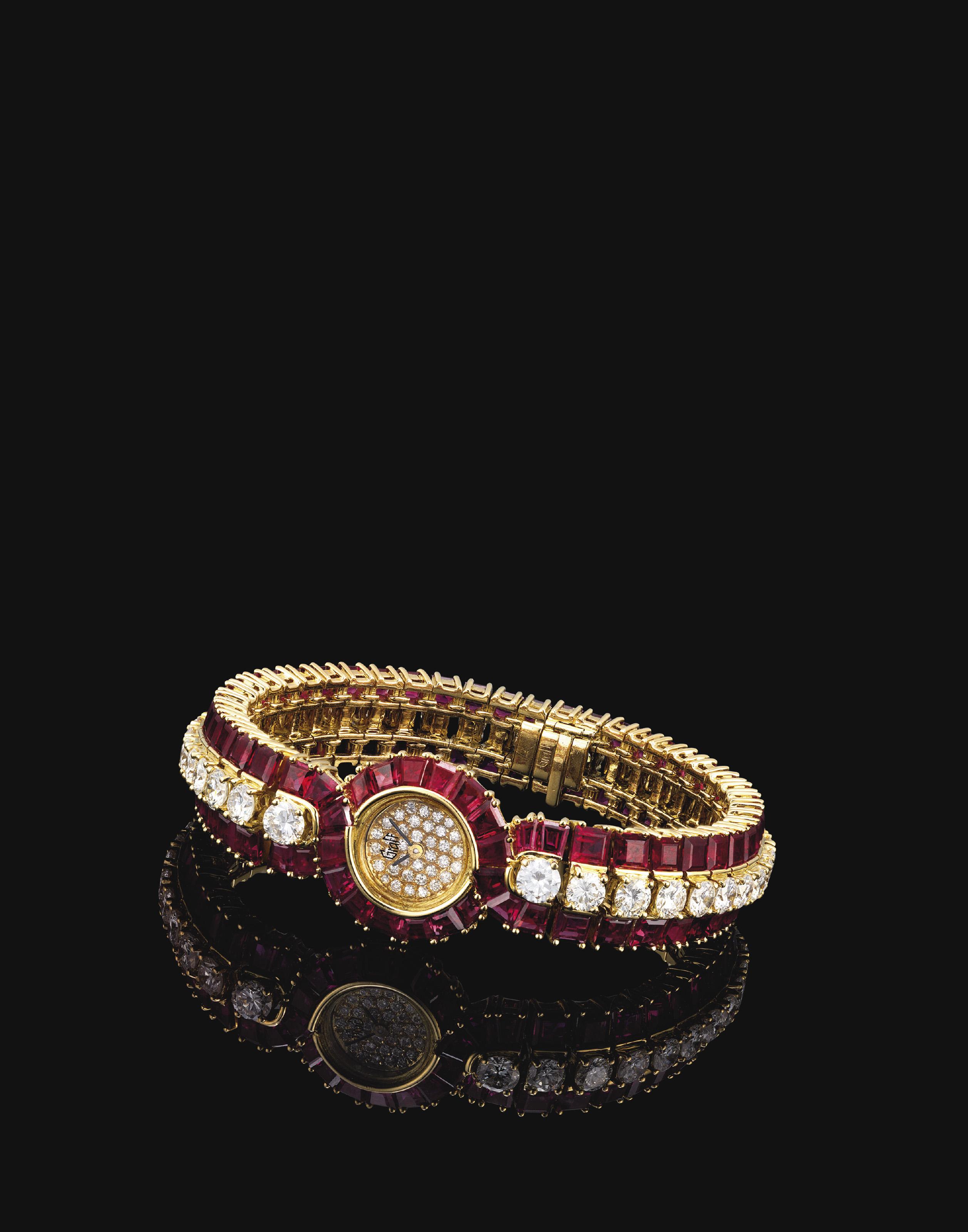 GRAFF. A LADY'S FINE AND ELEGANT 18K GOLD, RUBY AND DIAMOND-SET BRACELET WATCH