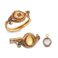 BAUTTE. AN EXTREMELY RARE AND FINE 22K GOLD AND ENAMEL OPENFACE KEYWOUND CYLINDER WATCH CONCEALED WITHIN A 22K GOLD AND ENAMEL BANGLE