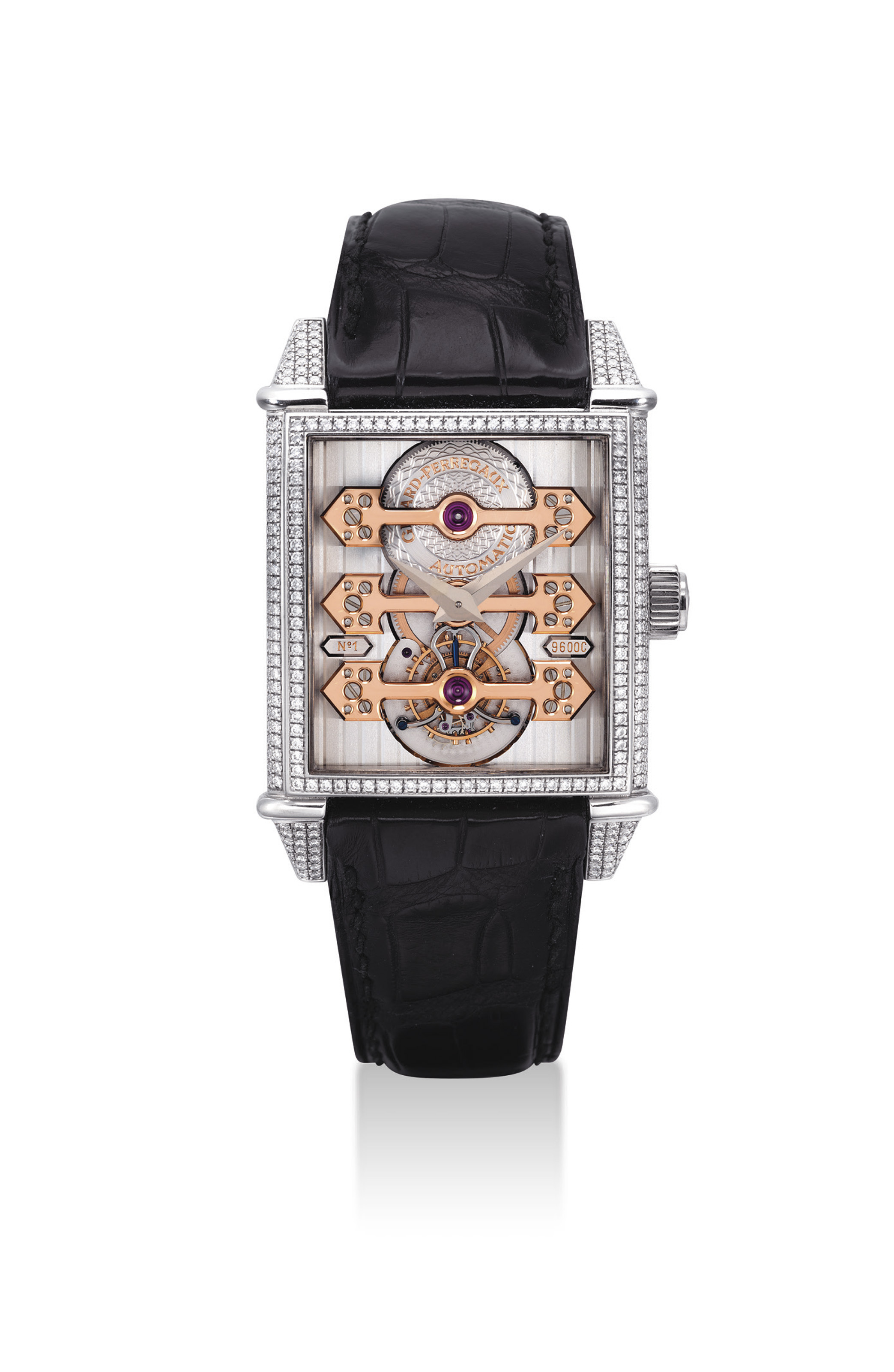 GIRARD-PERREGAUX. A VERY FINE AND RARE 18K WHITE GOLD AND DIAMOND-SET RECTANGULAR AUTOMATIC THREE GOLD BRIDGES TOURBILLON WRISTWATCH