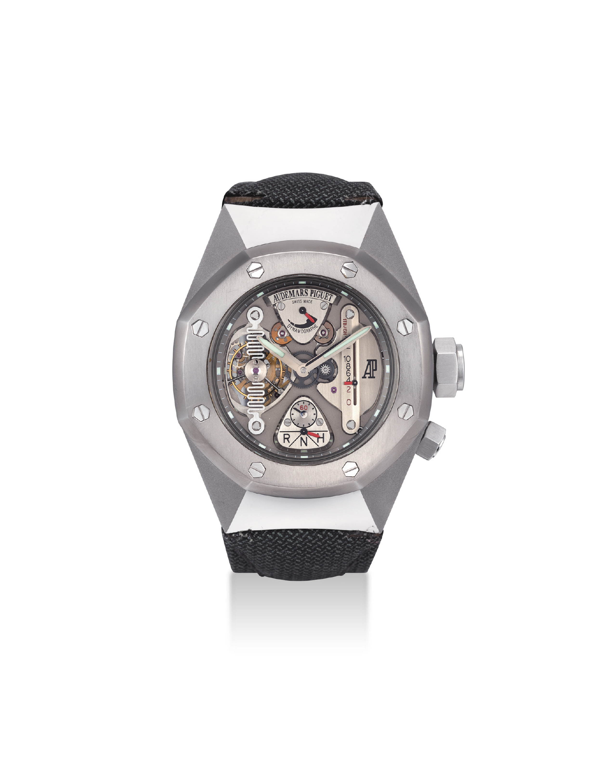 AUDEMARS PIGUET. A VERY FINE AND IMPORTANT ALACRITE 602 AND TITANIUM LIMITED EDITION TONNEAU-SHAPED SEMI-SKELETONISED TOURBILLON WRISTWATCH WITH POWER RESERVE AND DYNAMOGRAPHE INDICATION