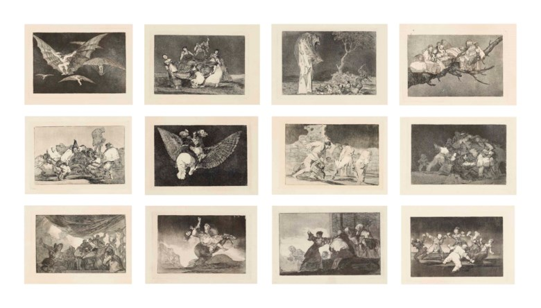 Francisco de Goya y Lucientes (1746-1828), Los Proverbios (D. 202-219; H. 248-265).  P 9 716 x 13¾  in (240 x 350  mm),  S 14 x 20⅞  in (357 x 530  mm). Sold for $509,000 on 28 January 2014 at Christie's in New York