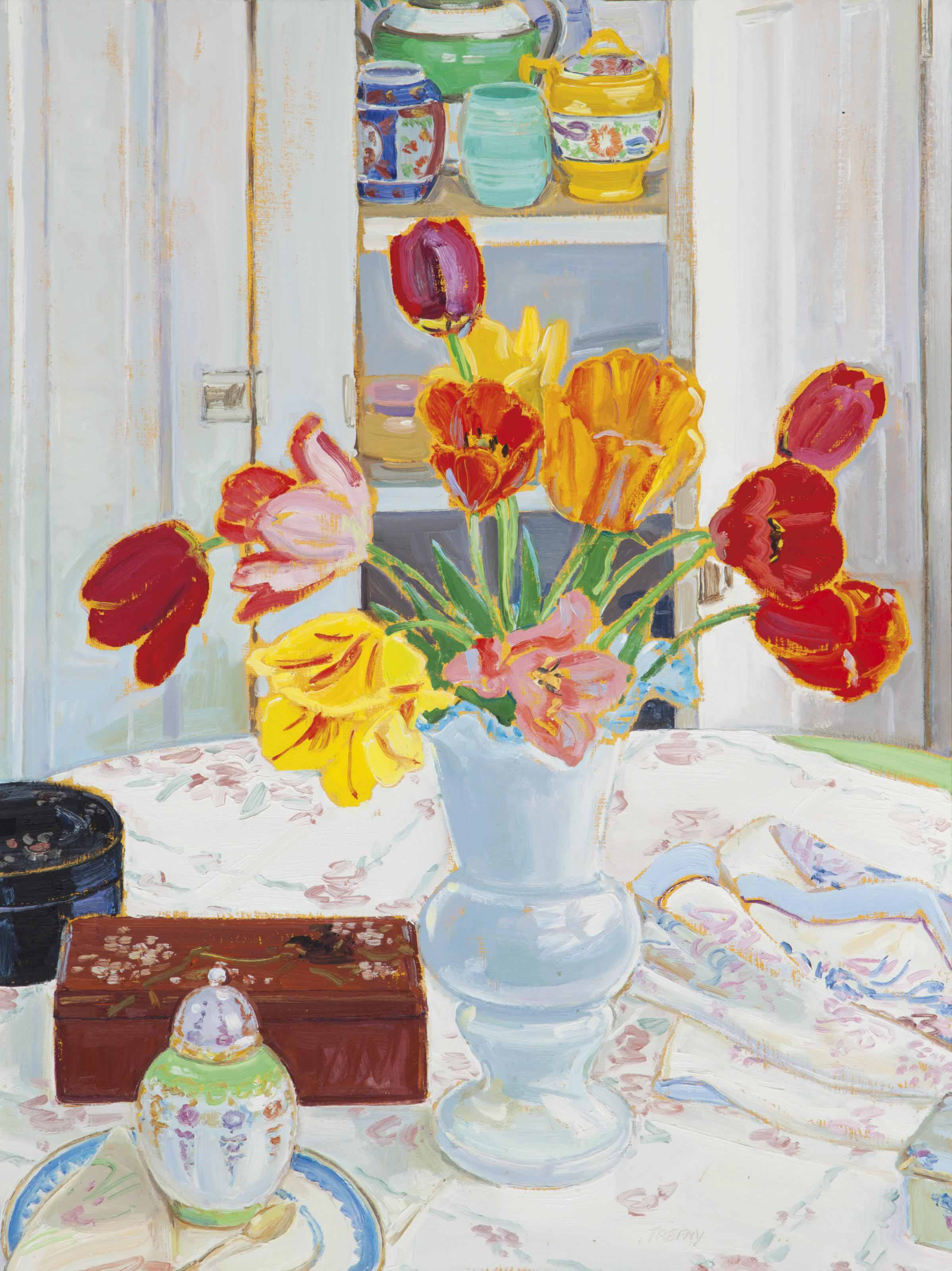 Tulips in a white vase; and a companion painting