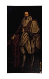Portrait of a Gentleman, full-length, in a white doublet and gold embroidered cloak, holding a hat by a table