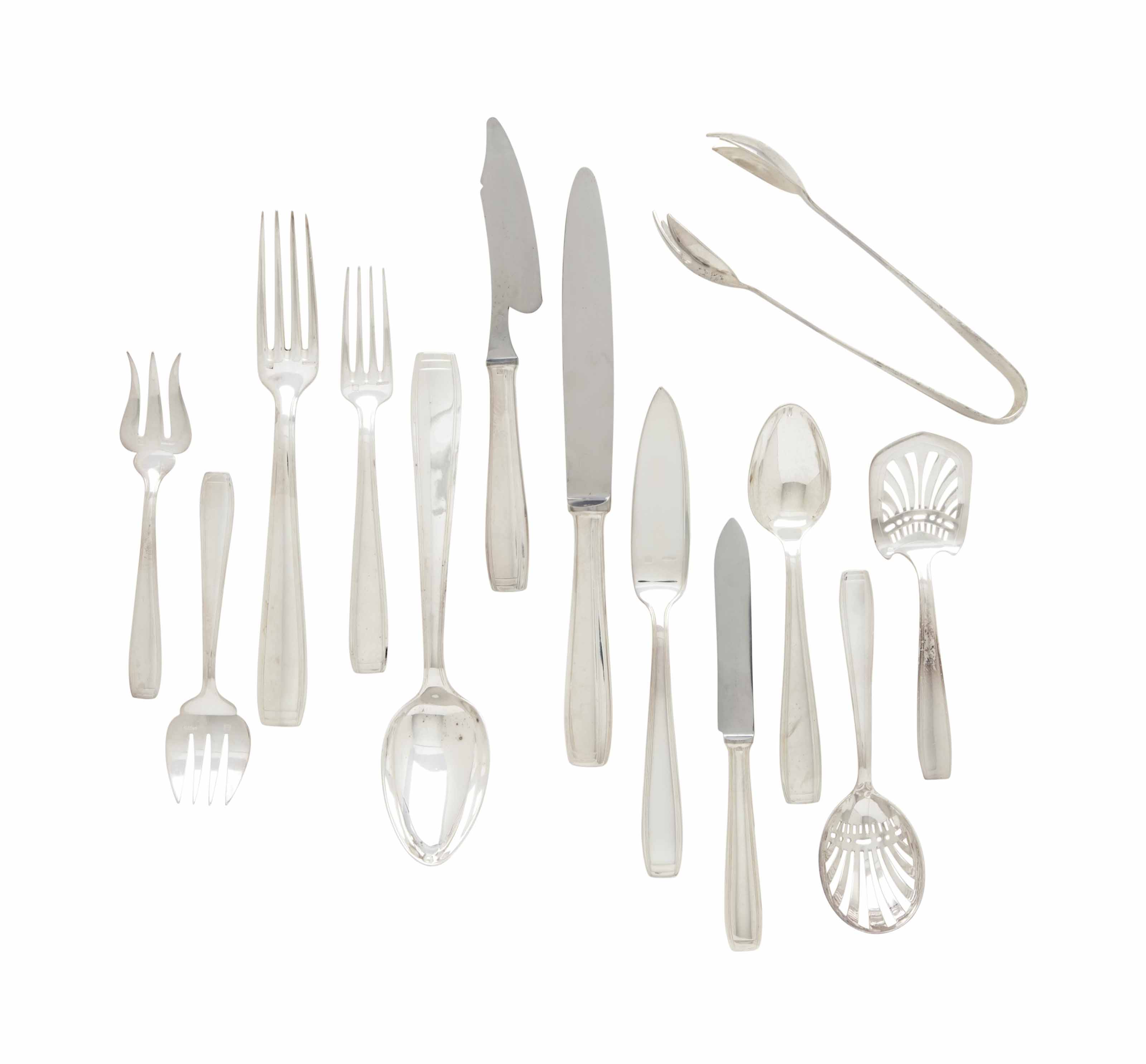 A FRENCH SILVER-PLATE PART FLATWARE SERVICE,