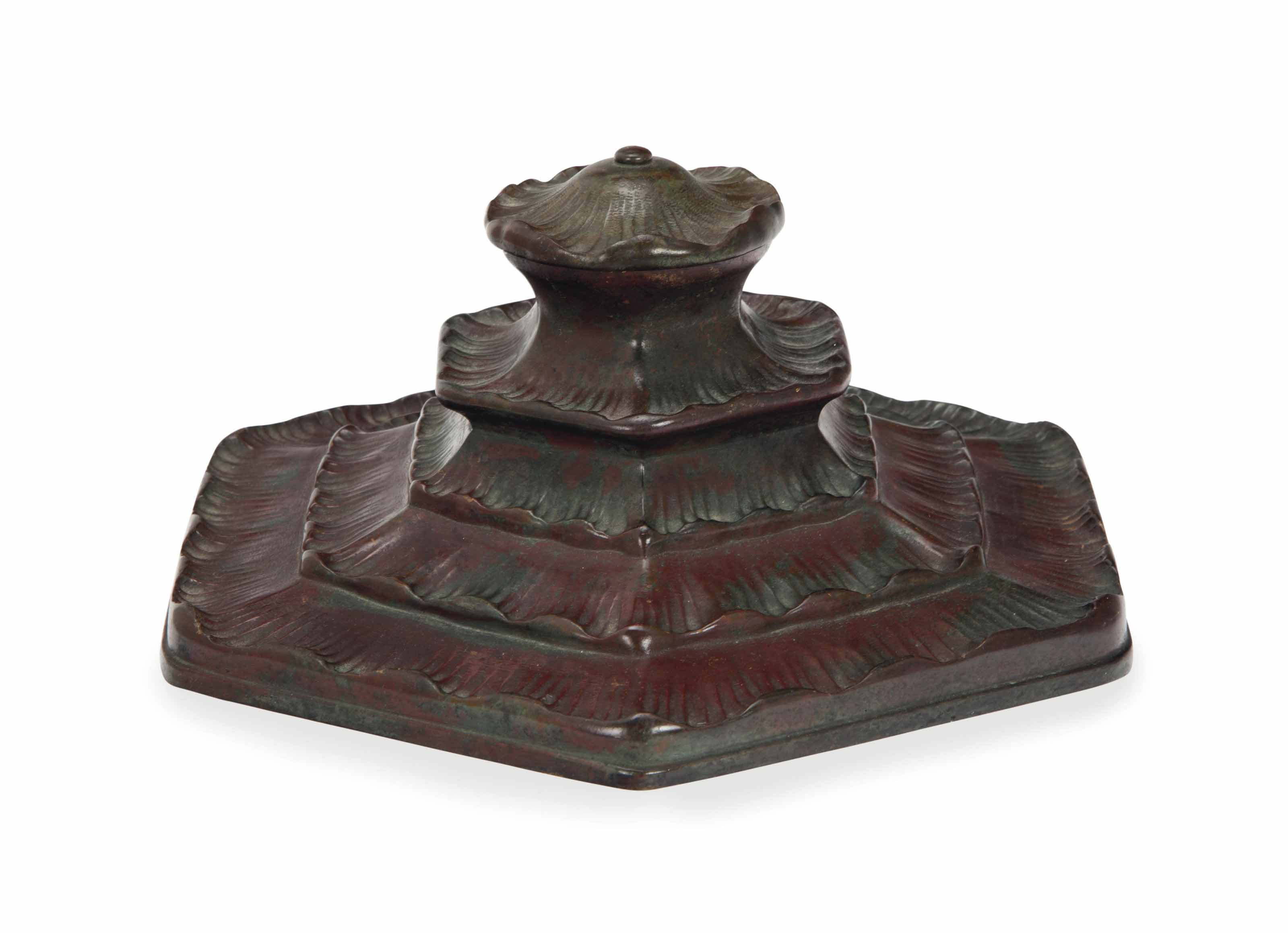 AN AMERICAN BRONZE INKWELL AND