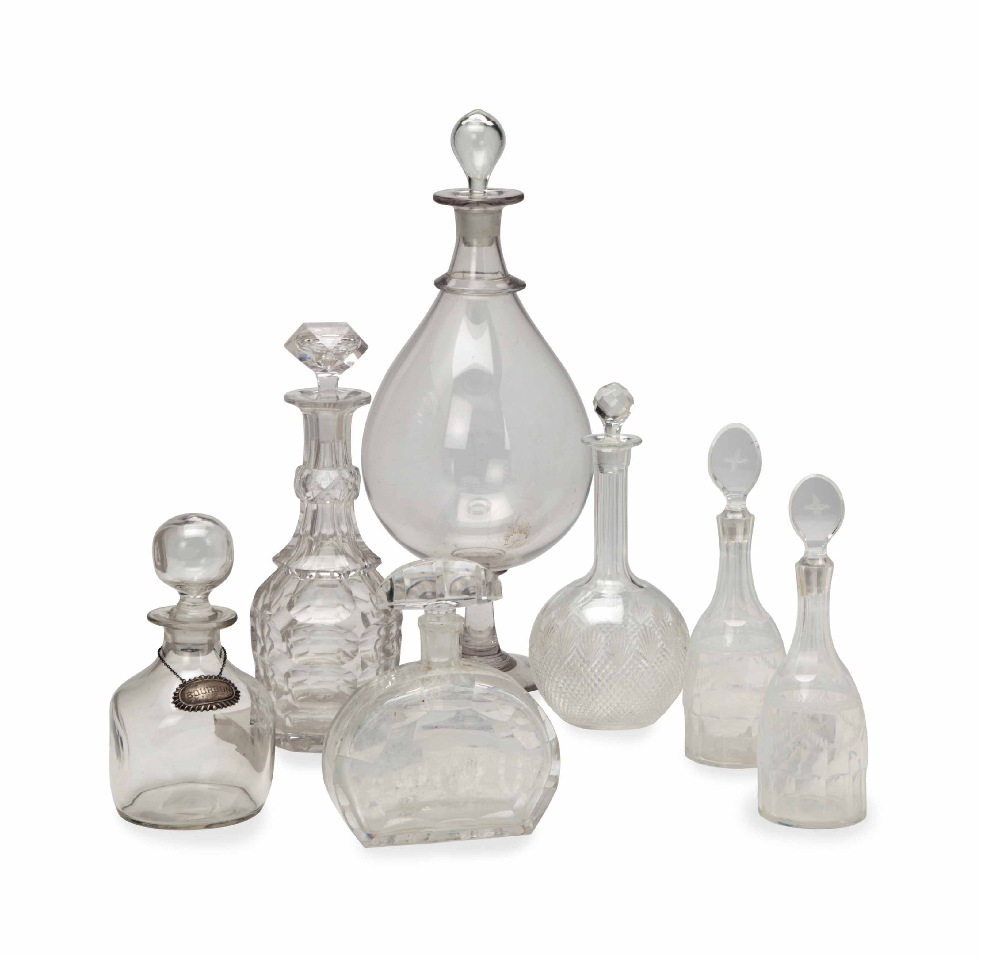 A GROUP OF CLEAR CUT-GLASS DEC