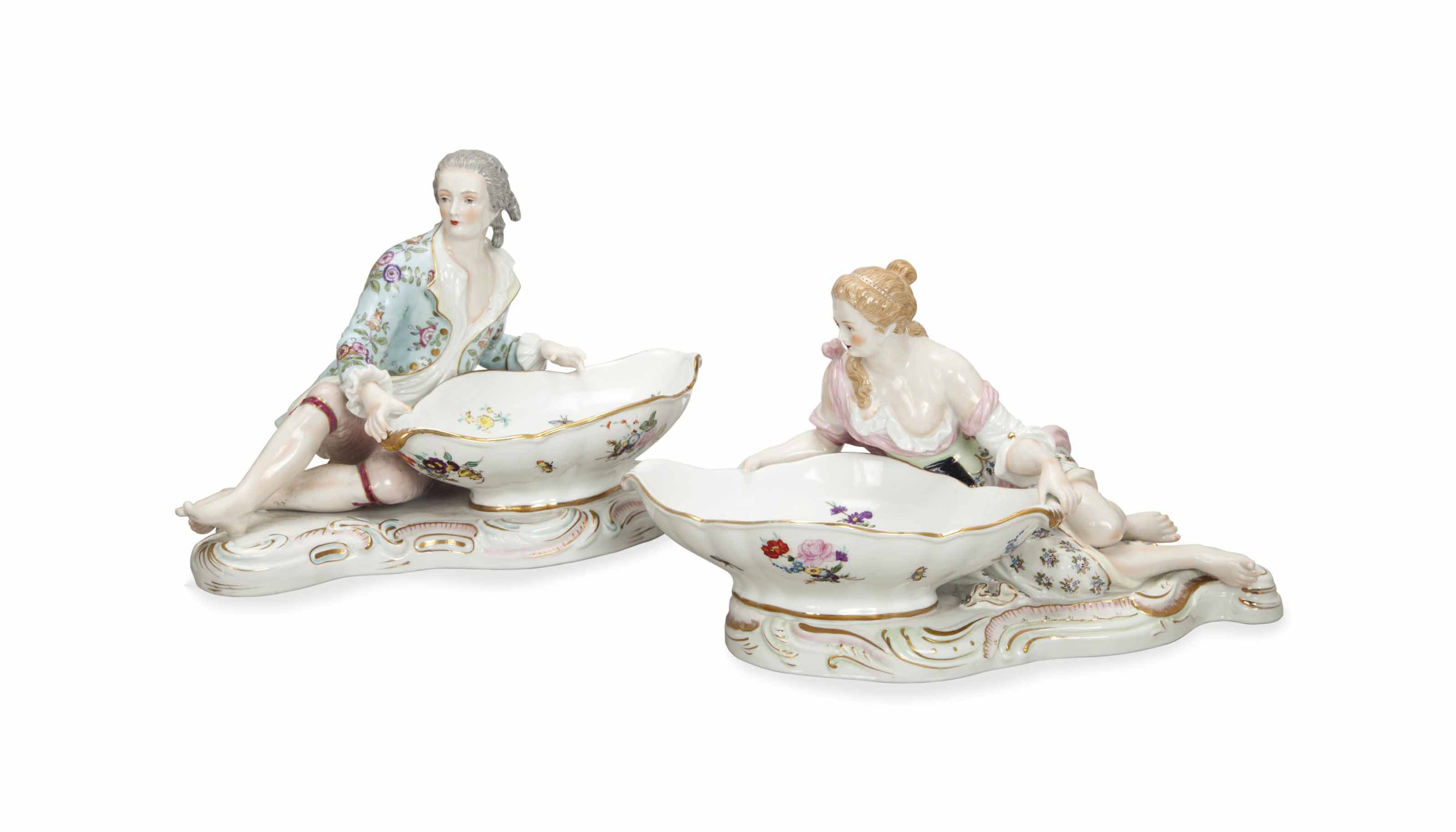 A PAIR OF MEISSEN-STYLE SWEETM