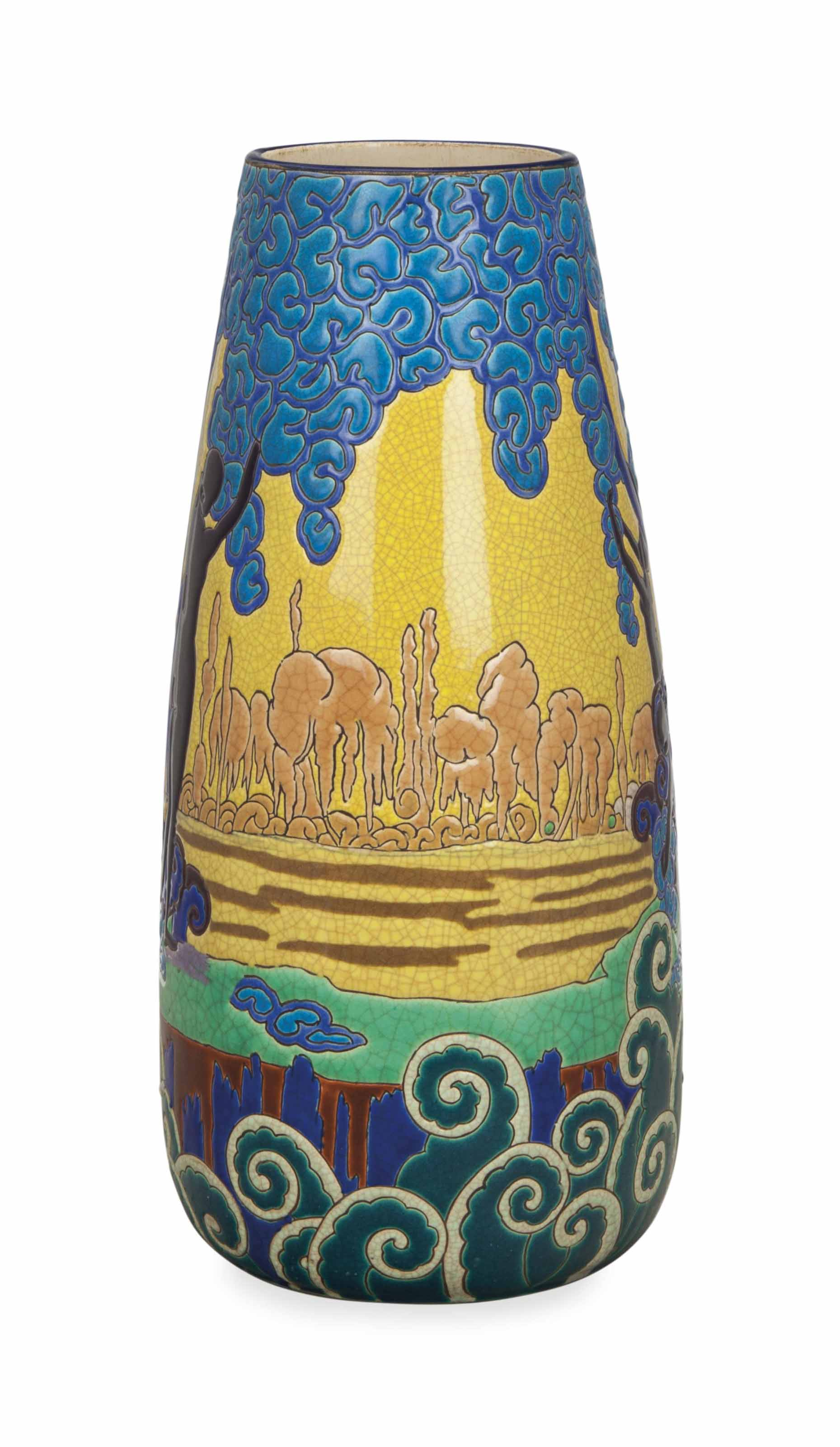 A FRENCH GLAZED EARTHENWARE VASE,