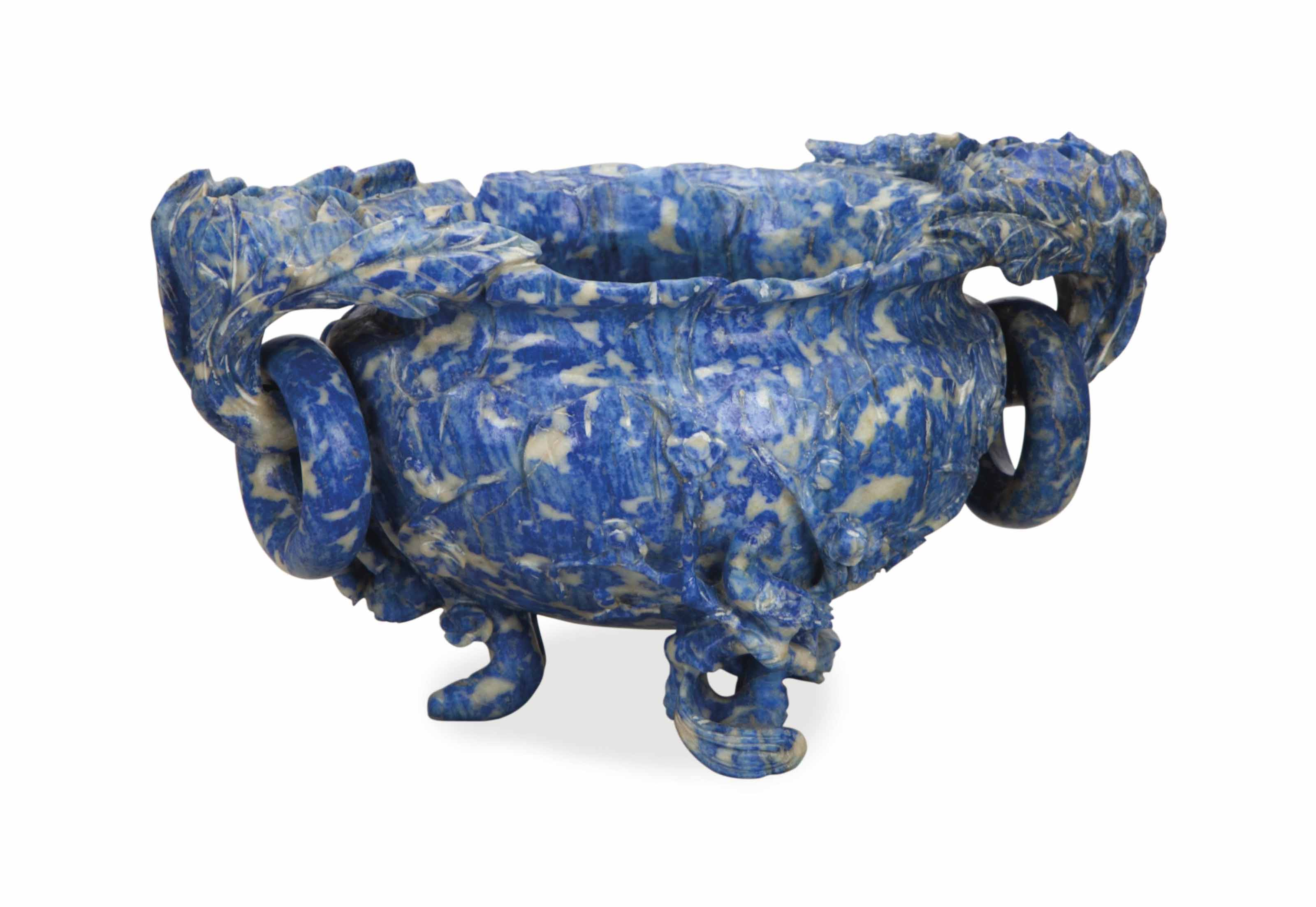 A CHINESE CARVED LAPIS LAZULI