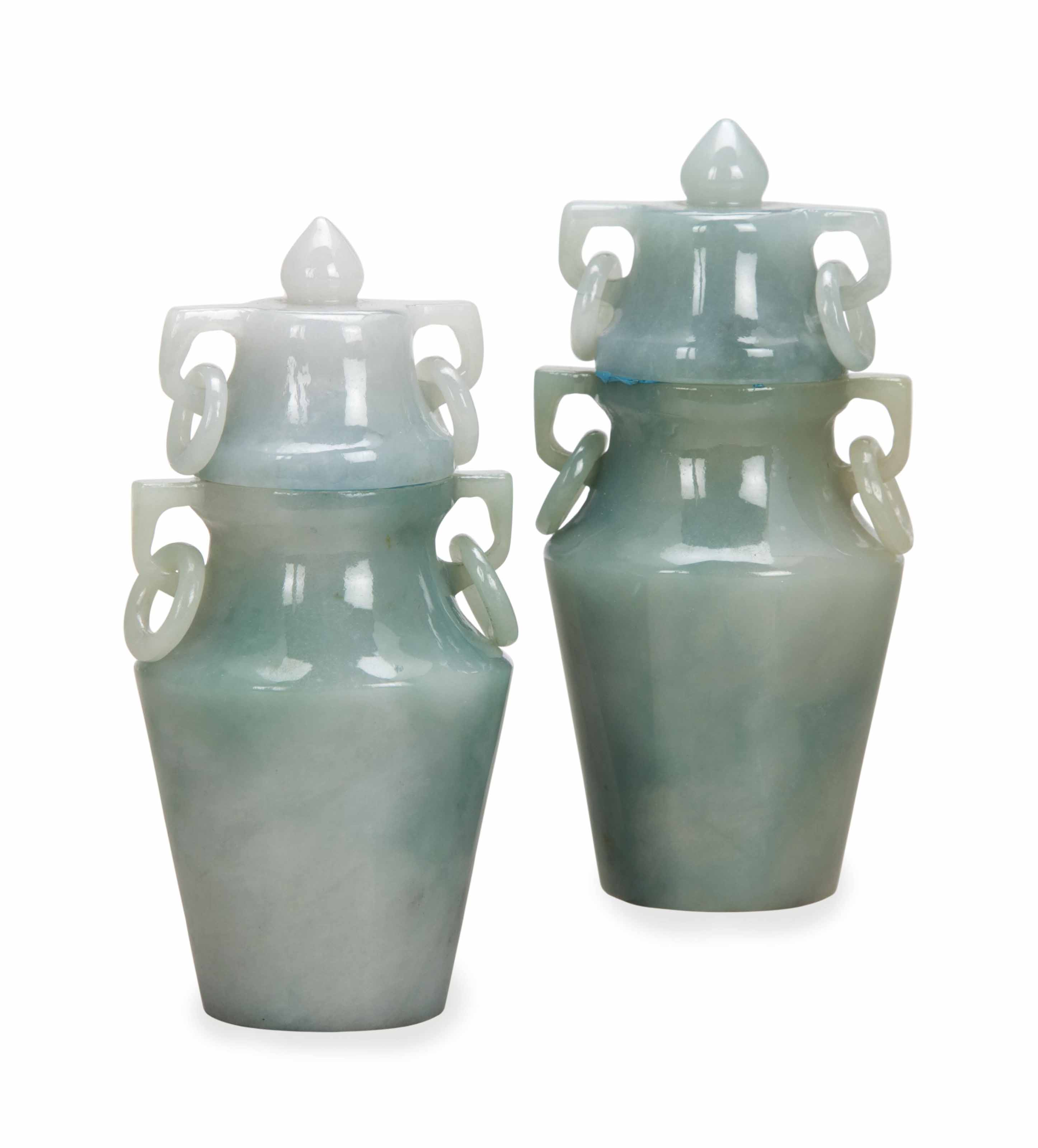A PAIR OF CHINESE SMALL WHITISH-GREEN AND LAVENDER JADEITE VASES AND COVERS,