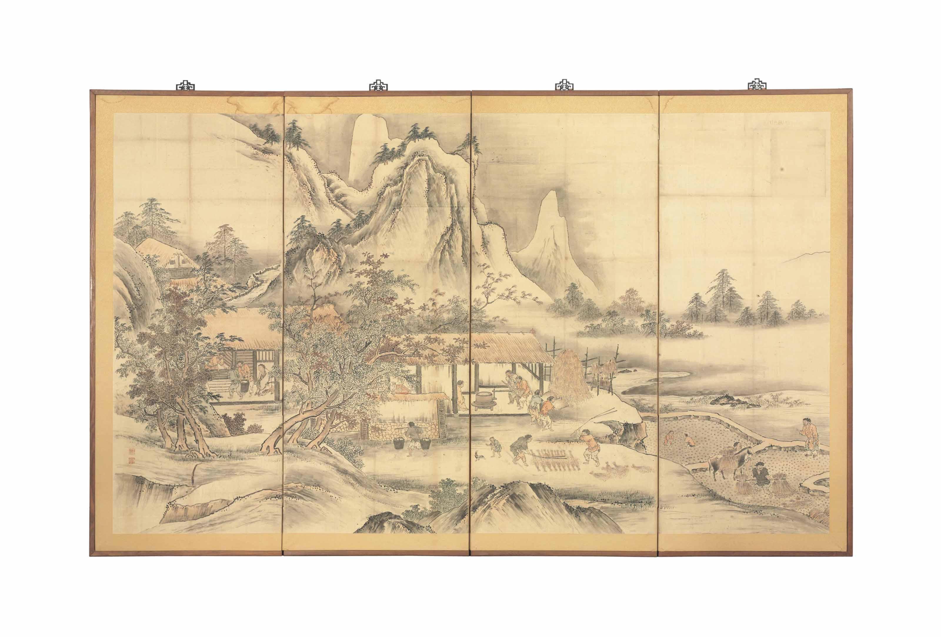 A JAPANESE FOUR PANEL FLOOR SC