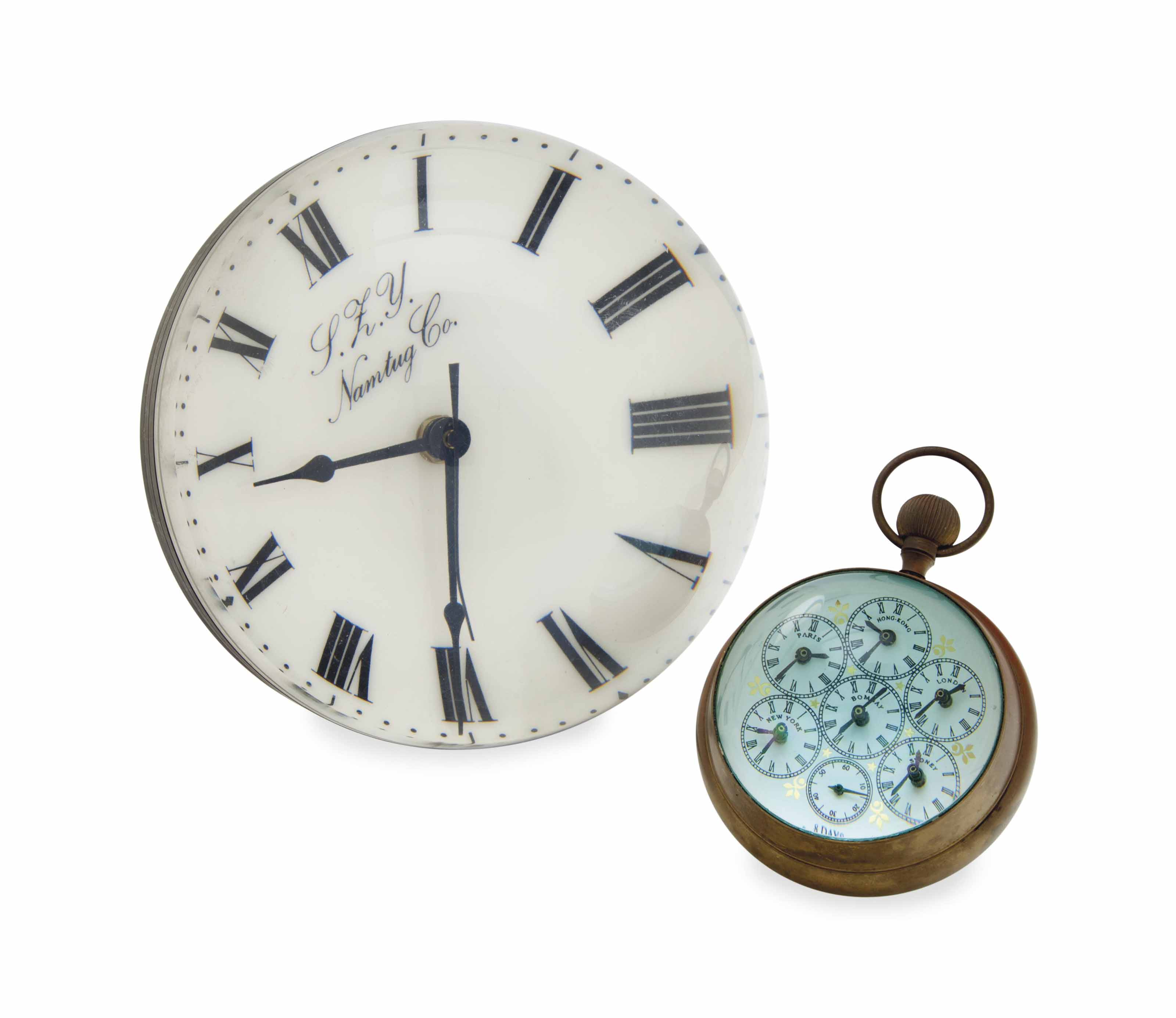 TWO BALL-FORM TABLE CLOCKS,