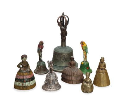 A GROUP OF EIGHT METAL FIGURAL